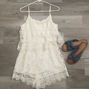 Forever 21 Pants - Lace White Romper